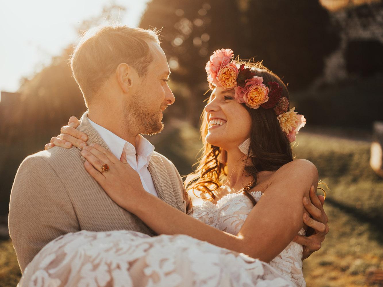 Boho wedding in idyllic mediterranean village
