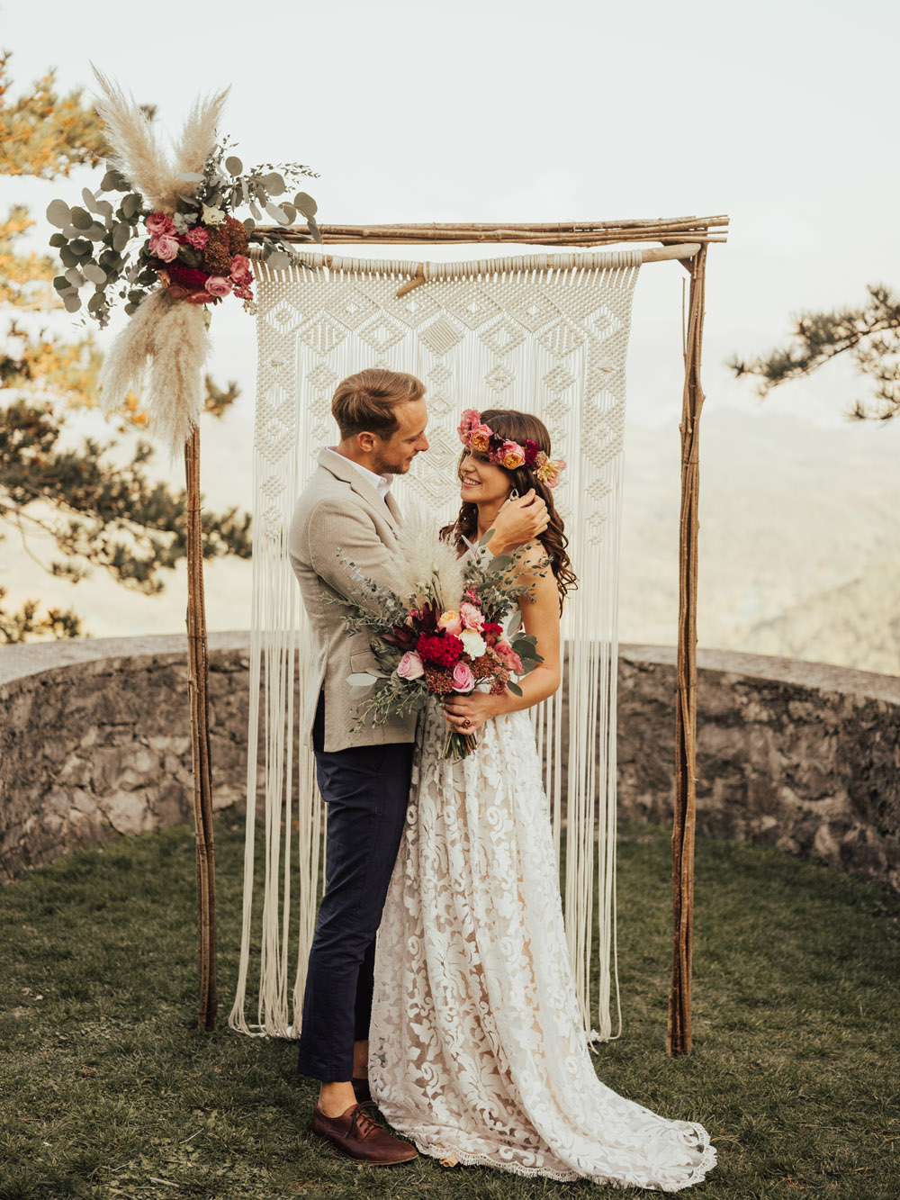 Boho wedding in idyllic mediterranean village